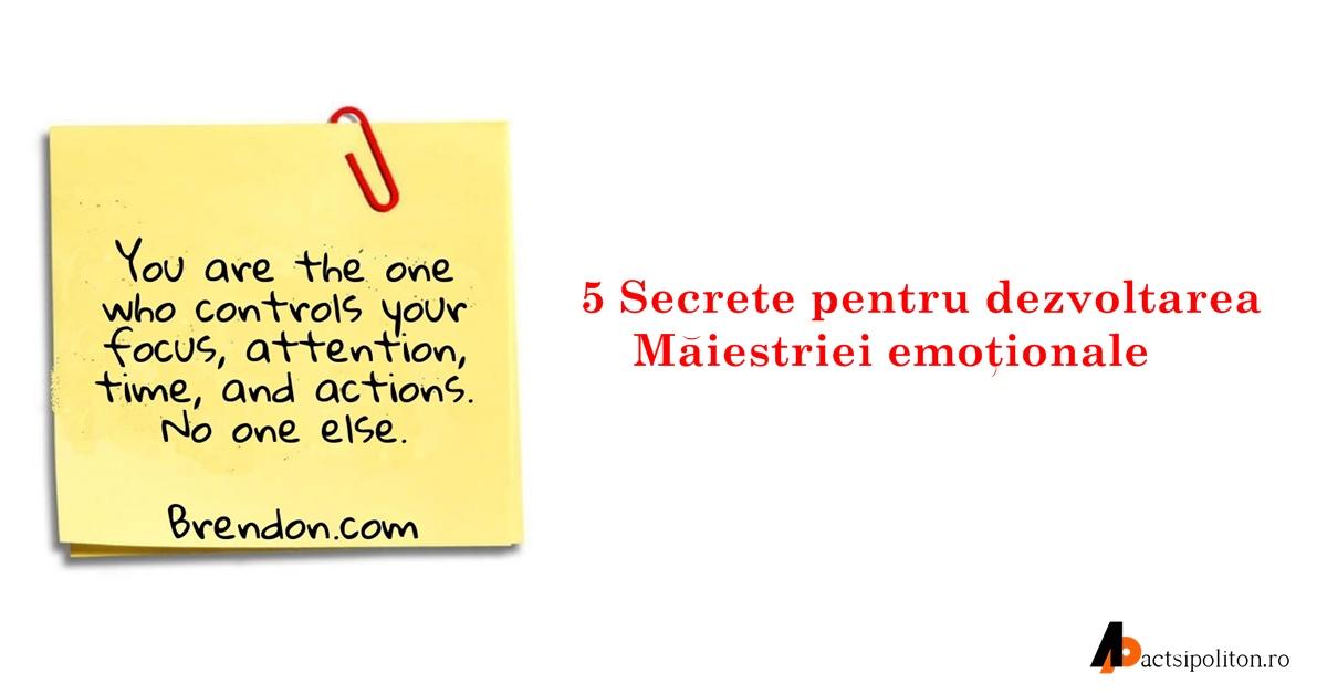 Cinci secrete pentru dezvoltarea Măiestriei emoționale